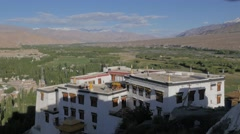 View over Spituk monastary into Indus valley,Spituk,Ladakh,India Stock Footage