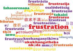 Frustration multilanguage wordcloud background concept - stock illustration