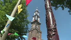 Westerkerk Tower and Netherlands Flag 3 Stock Footage