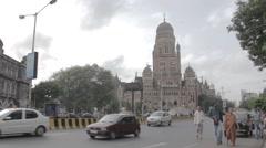 Mumbai Chattrapati Shivaji Terminus Exterior Stock Footage