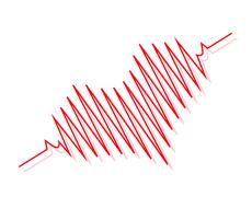 Red heart beats with cardiogram Stock Illustration