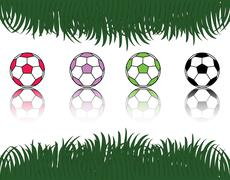 Soccer ball on the green grass background - stock illustration