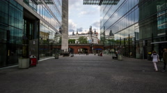 Kuhfurstendamm train bridge and modern office building with reflect glass facade Stock Footage