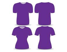 T-shirt purple template for man and woman (front and back views) Stock Illustration