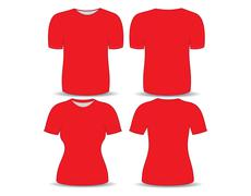 T-shirt red template for man and woman (front and back views) - stock illustration