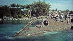 1972: Walt Disney World rides 20,000 Leagues Under the Sea and Jungle Cruise. Stock Footage