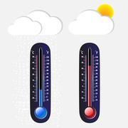Thermometer cool and hot on a gray background - stock illustration