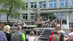 Actors perform in theatrical performance with old talking tree. 4K Stock Footage