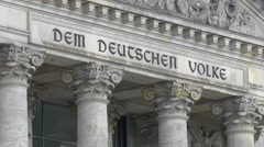 The 'Dem Deutschen Volke' dedication seen on Reichstag building's frieze, Berlin Stock Footage