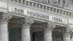 The 'Dem Deutschen Volke' dedication seen on Reichstag building's frieze, Berlin - stock footage