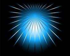 Blue and black color ray background with a burst - stock illustration