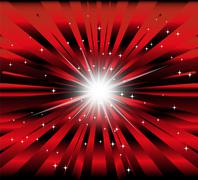 Burst red and black background with ray and star light - stock illustration