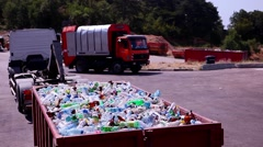 Sort for recycling. Sorted plastic bottles in the back of the truck. Stock Footage