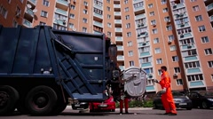 Grounds maintenance. Garbage removal. Garbage truck. Stock Footage