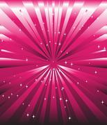 Sparkling stars on pink magenta ray background Stock Illustration