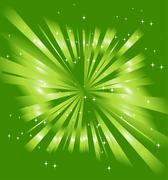 Sparkling stars on green ray background Stock Illustration