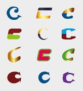 Unusual Letters C Set - Isolated element C symbol Vector Illustration Stock Illustration