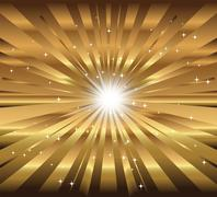 Stock Illustration of Vector star, ray with lens flare golden background
