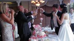 Guests congratulate the bride and groom. Guests clink glasses. - stock footage