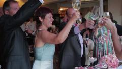 Guests congratulate the newlyweds. Friends clink glasses. - stock footage
