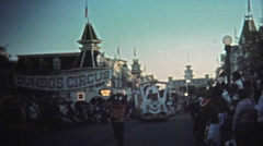 1972: Walt Disney World sunset parade Dumbo's Circus with Mickey/ Minnie Mouse, Stock Footage