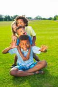 Four funny children. - stock photo