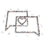 people in the shape of a buble chat , heart - stock illustration