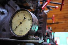 Stock Photo of Locomotive's manometer in light