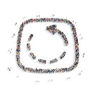 Stock Illustration of people in the shape of an arrow.
