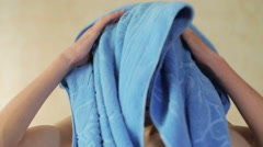 Young man  Drying Off Stock Footage