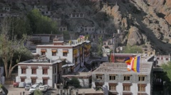 Hemis monastary with flag,Hemis,Ladakh,India Stock Footage