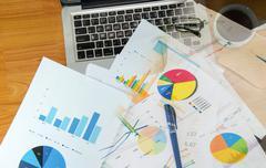 Graph laptop Stock Photos