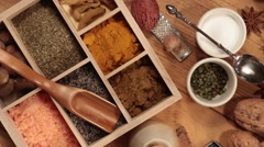 Cooking Spices - Rotating view from above - stock footage