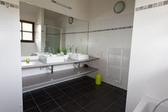 Well decorated modern white  washroom, Stock Photos
