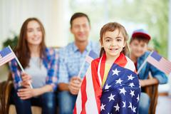 Cute little patriot - stock photo