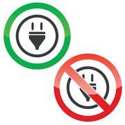 Plug permission signs - stock illustration