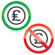 Pound sterling permission signs - stock illustration