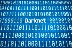 Binary code with the word Darknet in the center Stock Illustration
