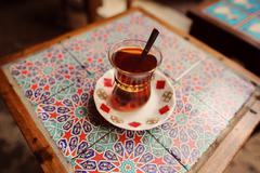 Traditional cup of turkish tea - stock photo
