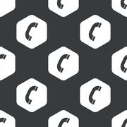 Black hexagon phone receiver pattern Stock Illustration