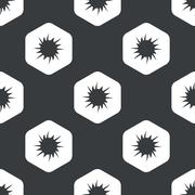 Black hexagon starburst pattern - stock illustration