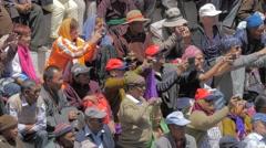 Tourists and locals at the Hemis Festival,Hemis,Ladakh,India Stock Footage