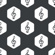 Black hexagon music pattern - stock illustration