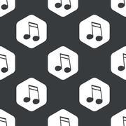 Black hexagon music pattern 2 - stock illustration