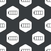 Black hexagon empty battery pattern Stock Illustration