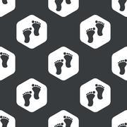 Stock Illustration of Black hexagon footprint pattern