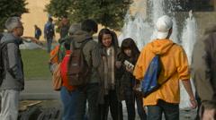 Tourists in Platz der Republik, Berlin Stock Footage