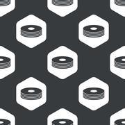 Black hexagon compact disc pattern Stock Illustration