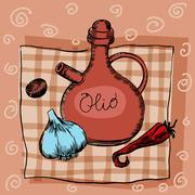 Stock Illustration of Olive oil garlic seasoning and pepper