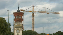 Tower crane moving near the City Hall in Berlin Stock Footage